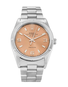 ROLEX AIR-KING SALMON QUARTER ARABIC DIAL STAINLESS STEEL MENS 14010M