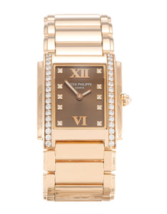 LADIES PATEK PHILIPPE TWENTY-4 4910/11R CHOCOLATE DIAMOND - Top Watches
