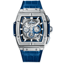 Load image into Gallery viewer, Hublot Spirit of Big Bang  Titanium Blue Skeleton Dial & Leather Strap Watch.