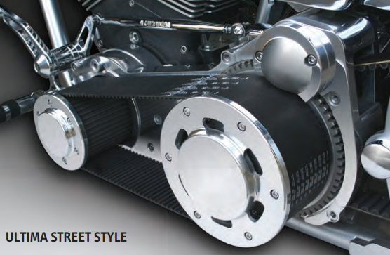 "58-730 ULTIMA® EVO & TWIN CAM® SOFTAIL® 3.35"" Street Style Belt Drive Assembly--Polished, cast backing plate, 1990-2006."