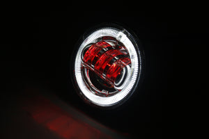 "4.5"" BLACK LED DRIVING LIGHT WITH HALO, TURN SIGNAL, AND DEVIL EYES"
