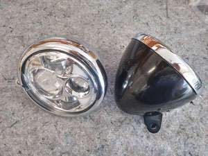 "5.75"" CHROME CUSTOM STRETCHED HEADLIGHT BUCKET WITH BLACK TRIM RING"