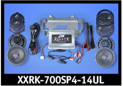 J&M ROKKER® XXR EXTREME 700w 4-Speaker/Amplifier Installation Kit for 2014-2020 Harley® Ultra/Ultra Ltd
