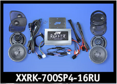 J&M ROKKER® XXR EXTREME 700w 4-Speaker/Amplifier Installation Kit for 2016-2020 Harley® Roadglide Ultra