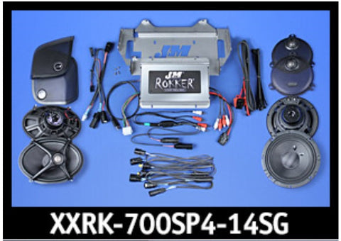 J&M ROKKER® XXR EXTREME 700w 4-Speaker/Amplifier Installation Kit for 2014-2020 Harley® StreetGlide
