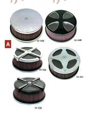 12-208 HIGH PERFORMANCE AIR CLEANER KITS Black HP smooth cross A/C kit.