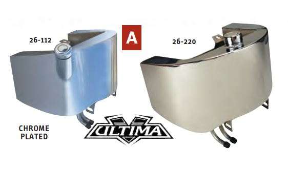 26-127  ULTIMA® OIL TANKS FOR SOFTAIL® Chrome oil tank with extended sides, side fill