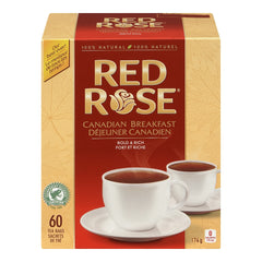 Red Rose Canadian Breakfast Tea Bags 60 Count  - Urbery