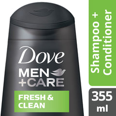 Dove Men +Care Fresh Clean Shampoo + Conditioner 355Ml  - Urbery