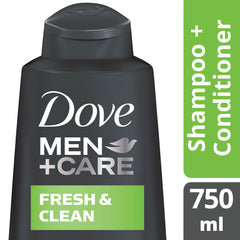 Dove Men +Care Fresh Clean Shampoo + Conditioner 750Ml  - Urbery