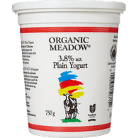 Organic Meadow Organic Yogurt, Plain 3.8% (750g)  - Urbery