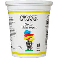 Organic Meadow Organic Fat Free Yogurt, Plain (750g)  - Urbery