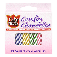 Cake Mate Candles, Striped Spiral (24ea)  - Urbery