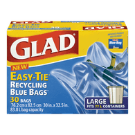Glad Easy-Tie Recycling Bags, Large (30ea)  - Urbery