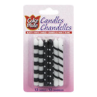Cake Mate Candles, Black & White (12ea)  - Urbery