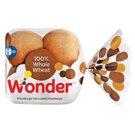 Wonder Hamburger Buns Whole Wheat (8/pack)  - Urbery