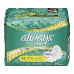 Always Maxi Pads Ultra Thin Regular With Wings (18ea)  - Urbery