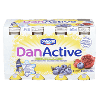 Danone DanActive Probitoic Drink, Blueberry/Pomegranate (8x93mL)  - Urbery