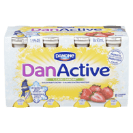 Danone DanActive Probiotic Drink, Strawberry (8x93mL)  - Urbery