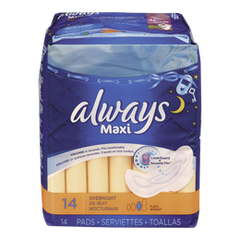 Always Maxi Pad Quilted Overnight (14ea)  - Urbery