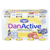 Danone DanActive Probiotic Drink, Assorted (8x93mL)  - Urbery