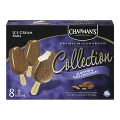 Chapman's Canadian Collection Ice Cream Bars, Almonds & Milk Chocolate (8x55mL)