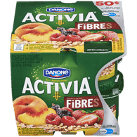 Danone Activia Probiotic Yogurt, Red Fruits-Cereal/Peach-Cereal (8x100g)  - Urbery