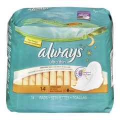Always Maxi Pad Ultra Thin Overnight Maxi With Wings (14ea)  - Urbery
