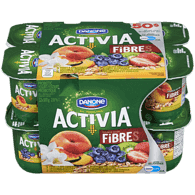 Danone Activia Probiotic Yogurt, Vanilla-Cereal/Blueberry-Cereal/Strawberry Kiwi-Cereal/Peach-Cereal (12x100g)  - Urbery
