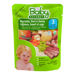 Baby Gourmet Baby Food Stage 3, Vegetable Beef Barley (128mL)  - Urbery