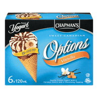 Chapman's Options Frozen Yogurt Cone Vanilla (6X120ML)
