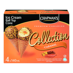 Chapman's Canadian Collection Ball Top Ice Cream Cones, Caramel (4x140mL)