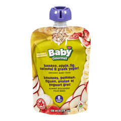 Baby Gourmet Baby Food Banana, Apple, Fig, Oatmeal & Granola (128mL)  - Urbery