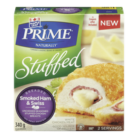 Maple Leaf Prime Stuffed Breaded Chicken, Smoked Ham & Swiss (340g)  - Urbery