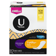 Kotex Lightdays Liner, Extra Coverage Odor Absorbing (112 ea)  - Urbery