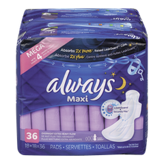 Always Maxi Pads Overnight (36ea)  - Urbery