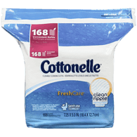 Cottonelle Flushable Cleansing Cloths, FreshCare Refills (168 ea)  - Urbery