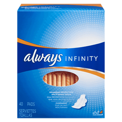 Always Maxi Pad Infinity Overnight With Wings (40ea)  - Urbery