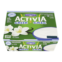 Danone Activia Probiotic Greek Yogurt, Vanilla 0% (4x100g)  - Urbery