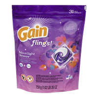 Gain Flings Laundry Detergent, Moonlight Breeze 31 Count (31ea)  - Urbery