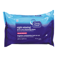 Clean & Clear Night Relaxing Makeup Removing Wipes (25ea)  - Urbery