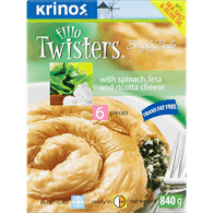 Krinos Fillo Twisters, Spinach & Feta Cheese (840g)