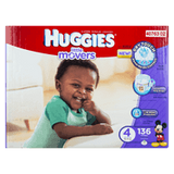 Huggies Little Movers, Mega Colossal Pack Size 4 Diapers (136 ea)