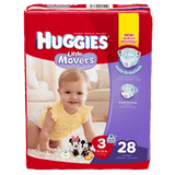 Huggies Little Movers, Jumbo Pack Size 3 Diapers (28 ea)