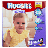 Huggies Little Movers, Mega Colossal Pack Size 3 Diapers (156 ea)