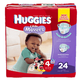 Huggies Little Movers, Jumbo Pack Size 4 Diapers (24 ea)