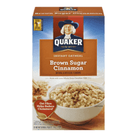 Quaker Instant Oatmeal, Brown Sugar & Cinnamon (310g)  - Urbery