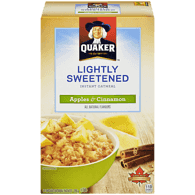 Quaker Instant Oatmeal, Apples & Cinnamon Lightly Sweetened (288g)  - Urbery