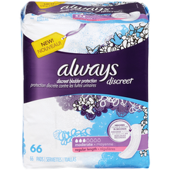 Always Discreet Maxi Pads Moderate Regular (66ea)  - Urbery