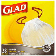 Glad Tie 'n' Toss Bags, Clear (28ea)  - Urbery